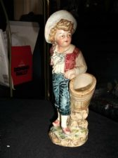 ANTIQUE HANDPAINTED FIGURINE BOY WITH TOOTHPICK BASKET INCISED CRESCENT JU 598